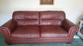 4 seater brown leather sofa, chair and stool