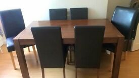 Black/brown oak table and 6 chairs