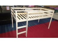 x2 brand new white pine midsleeper beds 190x90cm