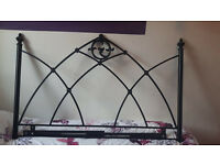 Beautiful black ornate metal double head board