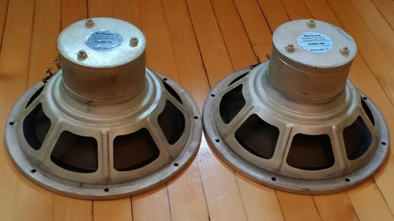Pair of Philips AD1056/W8 huge alnico woofers, 10in, working