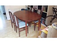 Mahogany dining table with 4 chairs