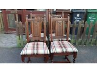 4 dining chairs,genuine Old charm,solid oak,carved,stable,wear,no carver,vintage,Made in England!!!!