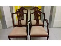 4 dining chairs,Victorian style,carved back,stable,1 carver,cushion acceptable, no table