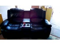 2 Seater recliner sofa with drinks holder