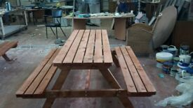 Rustic, treated benches for sale. Can also be painted in a range of colours.