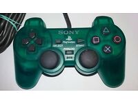 PlayStation Controller Clear Green Official Sony PS1 PS2 Analog Controller