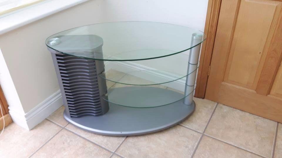 Glass TV Stand With DVD Storage - 3 Shelf - VGC