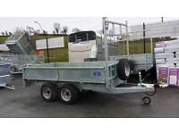 "NEW GALVANISED 10'x 5'6"" BUILDERS FLATBED TRAILERS LED LIGHTS. DROPSIDES & MESHSIDES AVAILABLE"