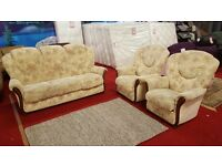 3 piece floral style fabric suite with wooden trims