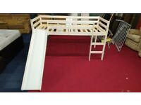 brand new white pine midsleeper with slide