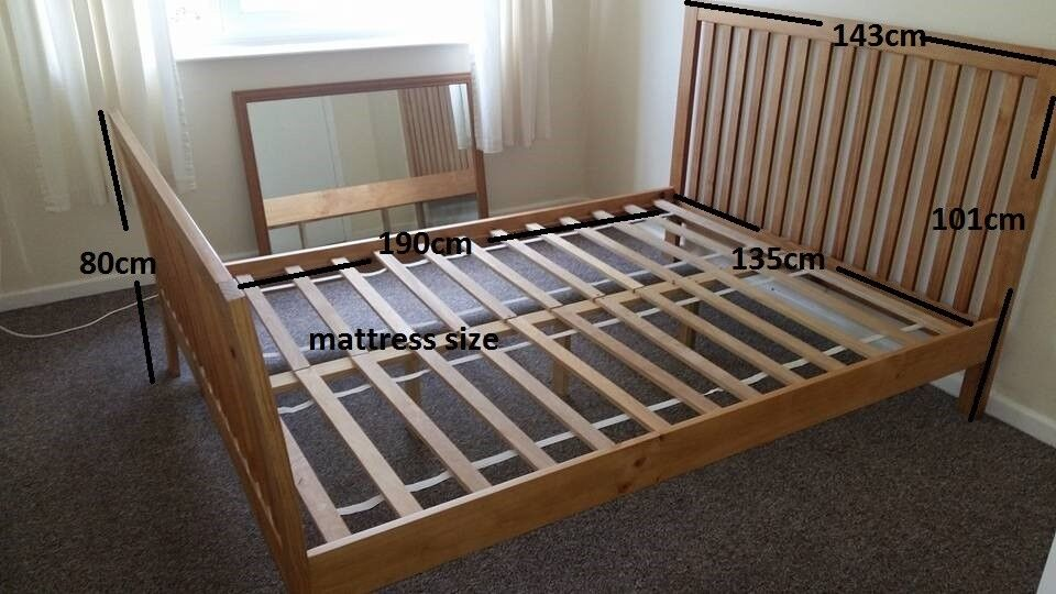 Double wooden bed frame, wood bed, solid, very