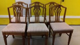 6 dining chairs,carved back,Victorian style,stable,no carvers,cushion not clean