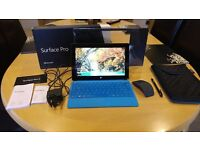 Microsoft Surface Pro 2 Tablet 128GB, with blue Keyboard, tablet case, arc touch mouse and pen!