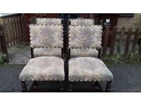 4 dining chair,solid oak,carved,probably Jaycee Furnoture,sturdy & stable