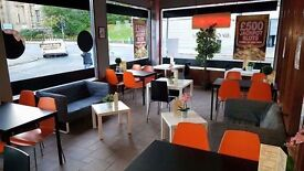 3 x black and 4x white tables, 16x orange chairs