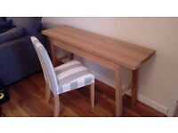 SOLID OAK DESK + 2 FABRIC CHAIRS ( NEW )