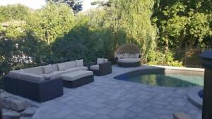 "10 x 10 SECTIONAL in Sunbrella with 6"" THICK ARMS AND CUSHIONS + CLUB CHAIR"
