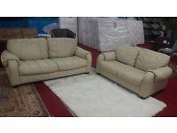3 & 2 designer italian cream leather sofas
