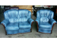 Small Blue Leather Suite