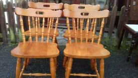 4 dining chairs,solid oak,carved back,high back,good physical condition,no table
