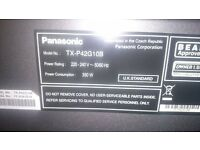 "Panasonic Viera TX-P42G10B 42"" 1080p HD Plasma Television With Freesat, no remote"