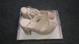 "Beige ""suede"" platform shoes, Ladies size 7 medium fit"