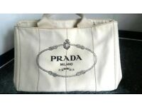 Prada White/Cream tote denim bag with a tag , genuine, used only once