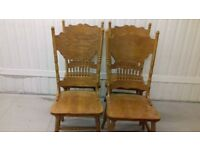 4 dining chairs,solid oak,carved back,high back,good physical condition,wear