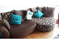 3 seater sofa with cuddle chair end and armchair. 5 years old, smoke free home, cost over £2000 new