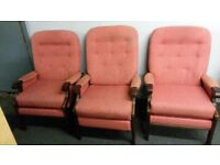 Matching Set of 3 Chairs - 2 Armchairs & 1 Recliner Chair