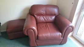 Brown leather 4 seater sofa, chair and stool.
