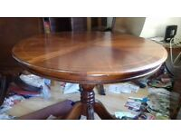 Round dining table,Regency,mahogany,extendable part missing,carve,100cm,castor