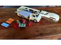 Playmobile camper van with figures and accessories