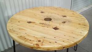 Unique Handcrafted Wooden Cable Reel Timber 4 Seater Dining Table East Maitland Maitland Area Preview