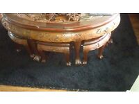 Stunning Chinese Carved Table with 6 stools underneath