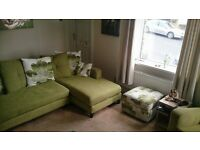 Lime green corner sofa, chair and storage footstool