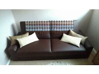 Brown leather bed settee excellent condition