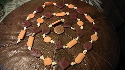 Rare Vintage Plastic Blow Mold Christmas Tree Garland Popcorn Crackers & Cookies