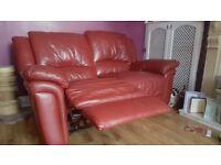 Italian leather recliner sofa x2