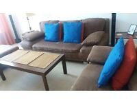 Suede seating set. Sofa bed + pouffe + armchair