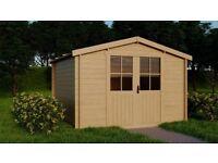 Garden Cabin / Solid Wood / Shed / Storage / Workshop DIY (3m x 3m) 28mm