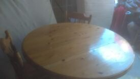 solid pine round folding dining table and 2 chairs - free delivery