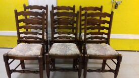 6 dining chairs,solid oak,ladder back,carved,cushion acceptable