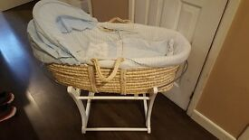 Mothercare boys moses basket and rocking stand