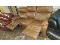 Caramel brown leather recliner in excellent condition very smart free local delivery deliver