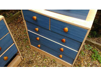 2 x Blue Chest of Drawers. Ideal for Storage