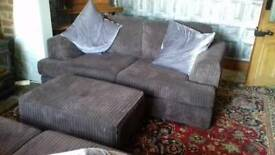 two seater sofas + footstool, jumbo cord