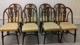 8 dining chair,solid oak chair,carved back,vintage,stable,probably Jaycee