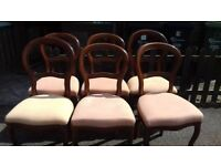 6 dining chairs,balloon back chair,Queen Anne style,carved back,stable,clean
